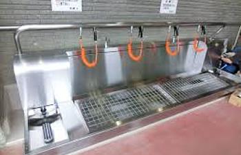 シューズ洗い場 排水管洗浄