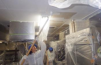 天井壁面油脂カビ除去